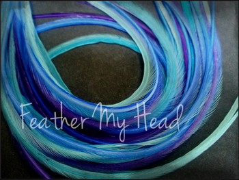 """Feather Hair Extensions - 16 Pc Mix Of Thin Fashion Euro Feathers - Long 9"""" -12"""" (23-30cm) Blue Purple - Life's A Beach Collection - Dancing Waters - Optional Do It Yourself Kit"""