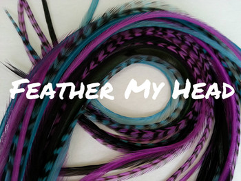 """Feather Hair Extensions - 16 Pc Mix Of Thin Fashion Euro Feathers - Long 9"""" -12"""" (23-30cm) Black Blue Purple Turquoise - Enchanted Collection - Love Potion - Optional Do It Yourself Kit"""