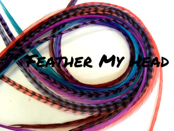 """Feather Hair Extensions - 16 Pc Mix Of Thin Fashion Euro Feathers - Long 9"""" -12"""" (23-30cm) Blue Brown Purple Red White - Boho Collection - Hippie Shake - Optional Do It Yourself Kit"""