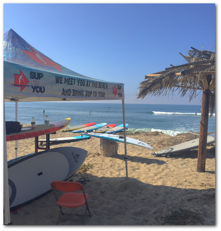 Sup to You surf paddle board demo day at San Onofre Beach in San Clemente, CA