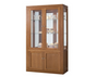 CHINA DISPLAY UNIT WITH GROOVE TOP, 4 DOORS, 2 GLASS SHELVES, MIRROR BACK AND DOWNLIGHT (HALF GLASS) - 970(W)