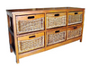 MEXICALI CANE STORAGE DRAWERS / CABINET (WIDE) WITH 6 DRAWERS (V-MEX-6D-W) (MODEL 13-5-24-9-3-1-14-1) - AMERICAN HERITAGE