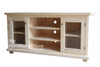 ARNCLIFFE SPECIAL 2 DOOR TV UNIT WITH 1 DRAWER / 2 SPACES - 1600(W) -  ANTIQUE WHITE / FRUITWOOD TOP