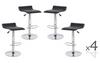 DIAZZY (BARS-51BK)   4  x  PVC CONTEMPORARY S-CURVE KITCHEN BAR STOOLS - SEAT: 660 - 870(H) - BLACK