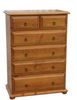 AVONDALE 6 DRAWER SPLIT -TOP TALLBOY - 1210(H) X 860(W)-CHESTNUT OR WALNUT