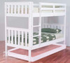 KING SINGLE LINDFIELD (MODEL 10-5-19-20-5-18) BUNK BED WITH MATCHING SINGLE BUDGET TRUNDLE BED - ARCTIC WHITE