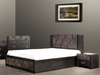QUEEN CHALET (TONE)  BED WITH 2 FOOT STORAGE DRAWERS  (1-18-7-12-5) - SAPPHIRE DECORATED WITH SWAROVSKI CRYSTAL