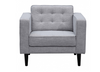 AIDEN   SINGLE  SEATER   BUTTONED FABRIC  ARM CHAIR - LIGHT GREY