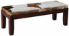ARDMORE SOLID TIMBER DOUBLE BENCH WITH GOAT HIDE SEAT - MAHOGANY