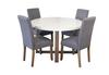 COPACABANA 5 PIECE ROUND DINING SETTING WITH ASHTON CHAIRS - 1200(DIA) - LIGHT GREY