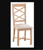 DOVIA (LW-CBCP) DOUBLE  CROSS BACK CHAIR WITH FABRIC SEAT - LIGHT LACQUER