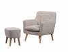 GEORGIA FABRIC UPHOLSTERED CHAIR WITH FOOT STOOL -LINEN
