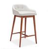 DASH LEATHERETTE  BAR STOOL  -  SEAT 670(H) - WHITE + WALNUT