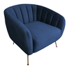 MONET  ACCENT VELVET FABRIC SOFA   CHAIR WITH METAL LEGS -  NAVY