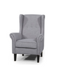 BLISS CHAIR UPHOLSTERED IN FIESTA SILVER/DARK TIMBER LEGS