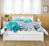 QUEEN SAVANNA BED WITH 2 FOOT  DRAWERS - (MODEL:5-12-12-1)  - WHITE