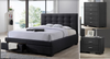 BRONTE KING 4 PIECE TALLBOY FABRIC BEDROOM SUITE -  (BED WITH 2 DRAWERS) - DARK GREY