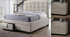 BRONTE KING  3 PIECE BEDSIDE   BEDROOM SUITE -  (BED WITH 2 DRAWERS) - LIGHT BEIGE
