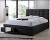 BRONTE DOUBLE OR QUEEN 3 PIECE BEDSIDE BEDROOM SUITE -  (BED WITH 2 DRAWERS) - DARK GREY