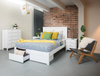 BALLINA KING 4 PIECE TALLBOY  BEDROOM - (BED WITH DRAWERS) - WHITE