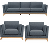 FINN   3 SEATER  + 1 SEATER + 1 SEATER FABRIC  LOUNGE SUITE - WHALE