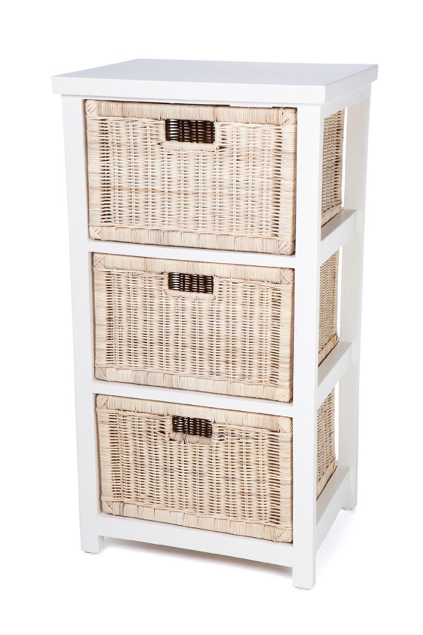 Bessy Rattan Storage With 3 Drawers Rdb783 White Frame