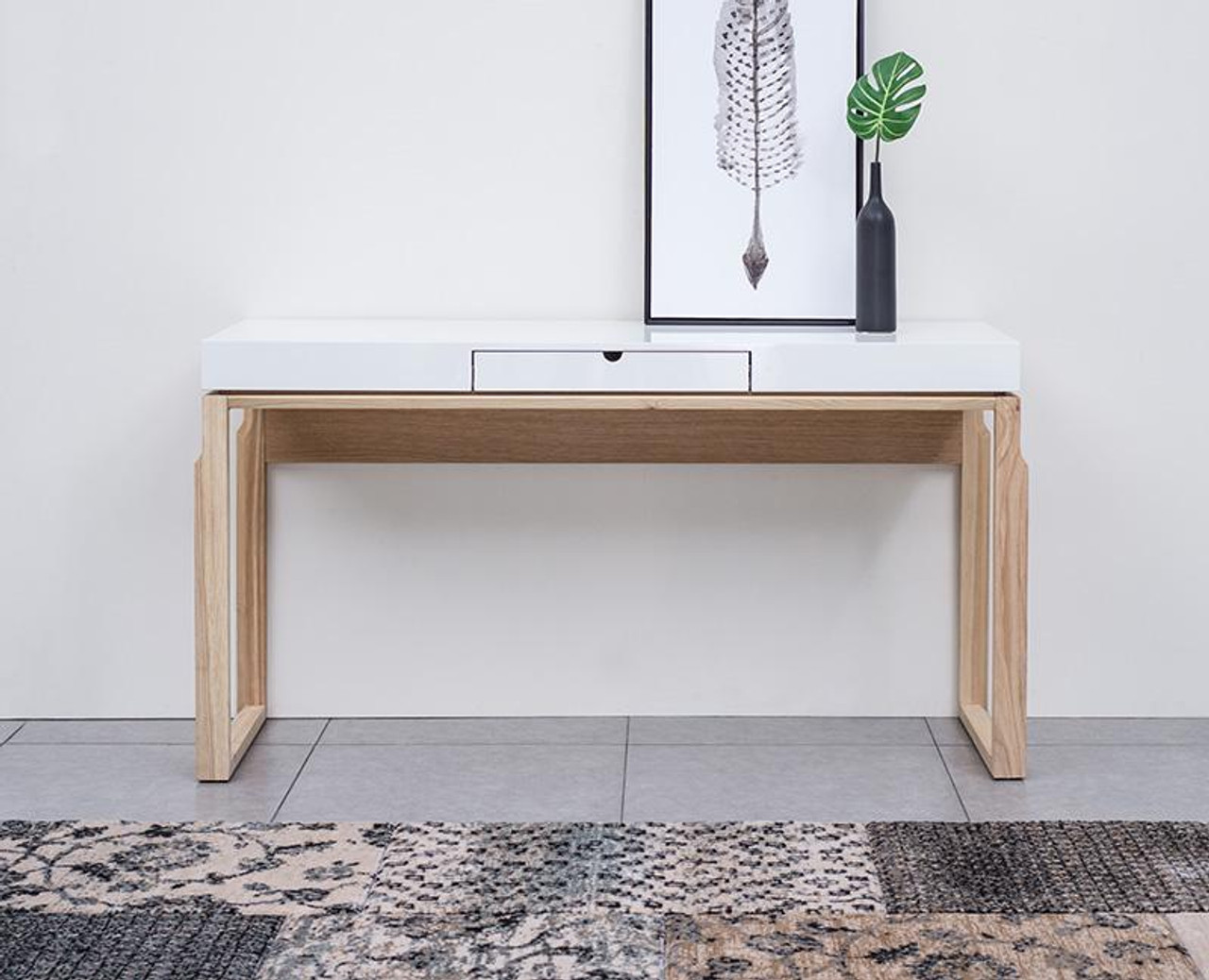 AJAX CONSOLE HALLWAY TABLE   1520(W)   NATURAL / HIGH GLOSS WHITE