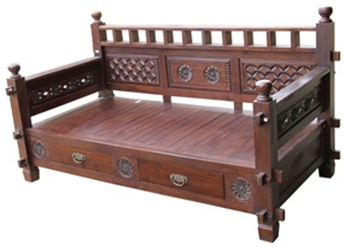 ALLEN DAYBED 7601 WITHOUT CUSHION & PILLOW - MAHOGANY OR CHOCOLATE