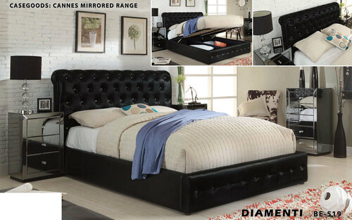 DOUBLE DIAMENTI BED (BE-519) WITH GAS LIFT STORAGE - LEATHERETTE - BLACK OR IVORY
