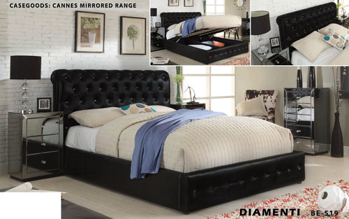 DIAMENTI (BE-519) KING 4 PIECE TALLBOY BEDROOM SUITE WITH CANNES (BE-829) MIRRORED CASE GOODS AND GAS LIFT UNDERBD STORAGE - LEATHERETTE - BLACK OR IVORY