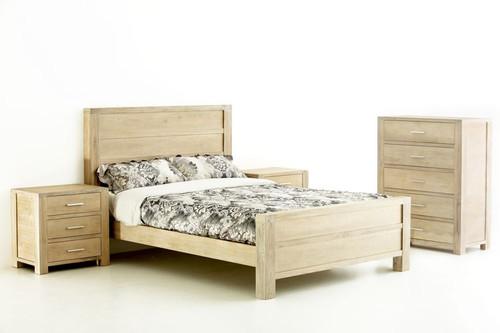 QUEEN TRIBECA (346) BED - WHITEWASH