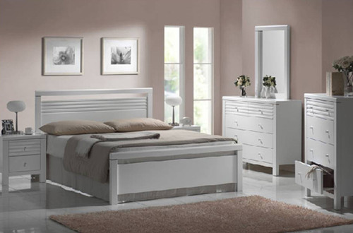DALLAS / FION DOUBLE OR QUEEN 3 PIECE BEDSIDE BEDROOM SUITE - WHITE
