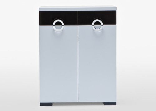 C10 SHOE CABINET WITH 2 DOORS / 2 DRAWERS - 1070(H) X 880(W) - WHITE & BLACK