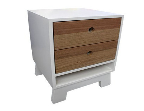 ART DECO BEDSIDE WITH 2 DRAWERS - WHITE WITH VIC ASH HIGHLIGHTS