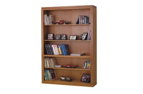 CHIARA BOOKCASE WITH GROOVE TOP AND 4 SHELVES - 2100(H) X 1200(W) - TASSIE OAK - ASSORTED COLOURS AVAILABLE