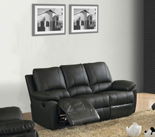 JEMMA (V-1122-3) 3 SEATER LEATHER RECLINER (3RR) - BLACK OR BROWN