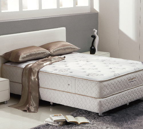 QUEEN DELUXE FIRM POCKET SPRING ENSEMBLE WITH LATEX (BASE & MATTRESS) - FIRM