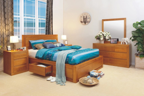 CLAREMONT QUEEN 5 PIECE DRESSER BEDROOM SUITE WITH 4 UNDER BED DRAWERS -  CHOICE OF COLOURS