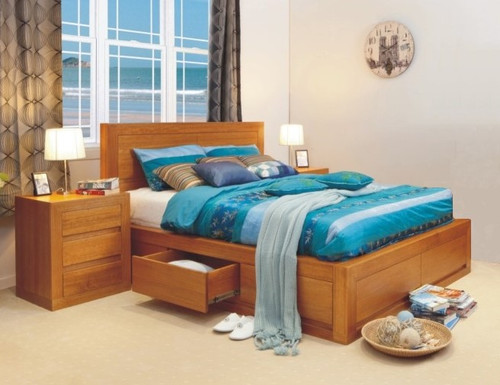 DOUBLE CLAREMONT TASSIE OAK BED WITH 4 UNDER BED DRAWERS - CHOICE OF COLOURS