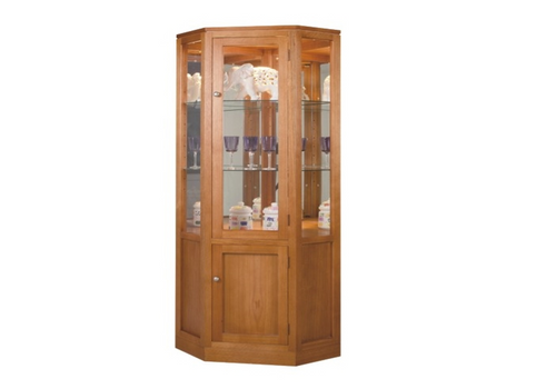 CATARINE CORNER DISPLAY UNIT WITH 2 DOORS, 2 GLASS SHELVES, MIRROR BACK AND DOWNLIGHT - 650(W)