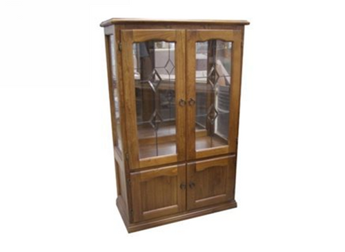 CHINA 4 DOOR DISPLAY CABINET WITHOUT LEADLIGHTS (Z-11) (NOT AS PICTURED) - 1500(H) x 900(W) - BALTIC(#215) OR WALNUT(#219)