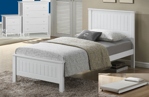 QUINCY SINGLE 3 PIECE BEDROOM SUITE (WS-1301) INCLUDING UNDERBED TRUNDLE - WITH KADO CASE GOODS - WHITE