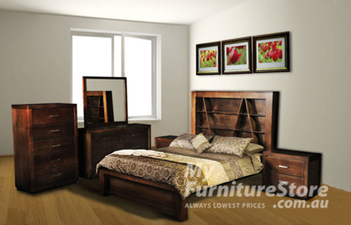 CHRISTIAN DOUBLE OR QUEEN 4 PIECE TALLBOY BEDROOM SUITE - ASSORTED COLOURS