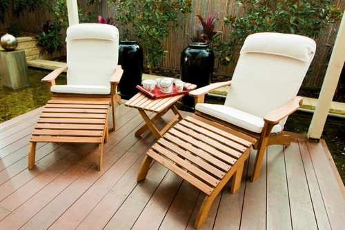 PAIR OF MAYOTTE ADIRONDACK CHAIR WITH FOOTSTOOL (OK136-A-S) - INCLUDES OPTIONAL COFFEE TABLE & ADIRONDACK ECOZ SEATBACK CUSHION