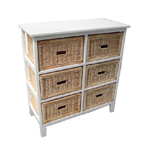 BONDI 6 DRAWER NATURAL CANE TALL CABINET (V-BON-6D-T)