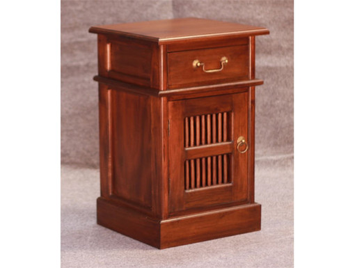 RUJI 1 DOOR 1 DRAWER BEDSIDE (BS 101 DW) - MAHOGANY OR CHOCOLATE