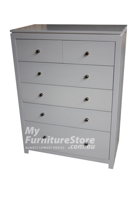 CELINE 6 DRAWER TALLBOY WITH HANDLES -1300(H) X 900(W) - ASSORTED COLOURS (PICTURED IN WHITE)