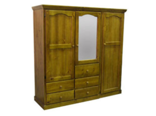 2-PIECE TIMBER WARDROBE WITH 3 DOORS & 5 DRAWERS -  1800(H) X 1800(W)  - ASSORTED COLOURS AVAILABLE