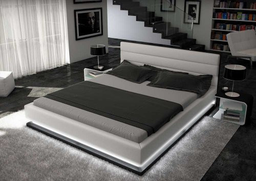 VENETO (3003) KING 3 PIECE BEDSIDE BEDROOM SUITE (WITH MODENA #25 BEDSIDES) - LED LIGHTS - LEATHERETTE - ASSORTED COLOURS