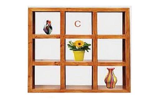 (C) 9 CUBE BOOKSHELF / DISPLAY - 1500(H) X 1500(W) - BLACKWOOD (1371) OR WALNUT (1985)